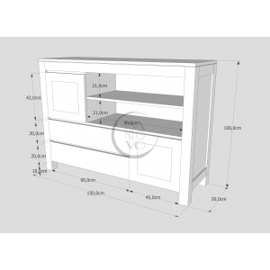 Komoda drewniana ENZO 09 (2D+ 2S) 2