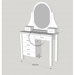 Toaletka sosnowa z lustrem Merida 2