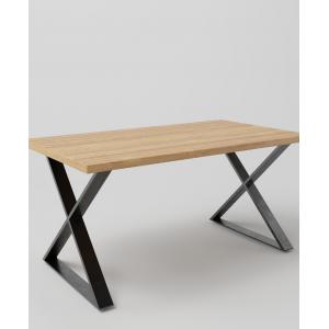 Stół drewniany na metalowych nogach typu X