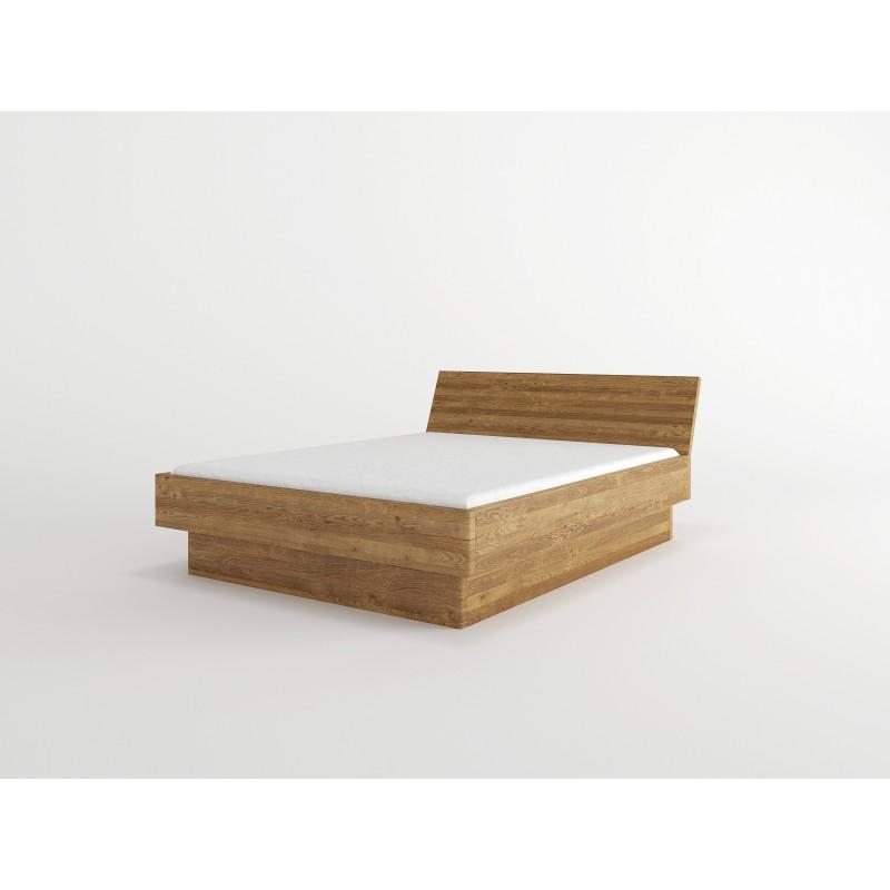 Łóżko bukowe z pojemnikiem i pochyłym wezgłowiem FORTE