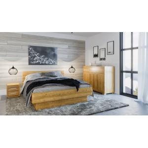 Łóżko dębowe z pojemnikiem FORTE 2